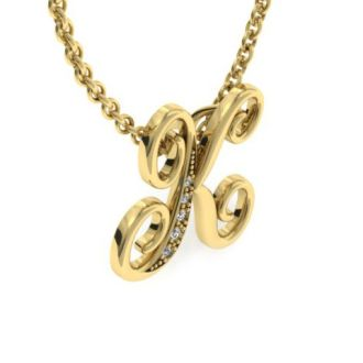 Diamond Initial Necklace, Letter K In Serif Style, Yellow Gold