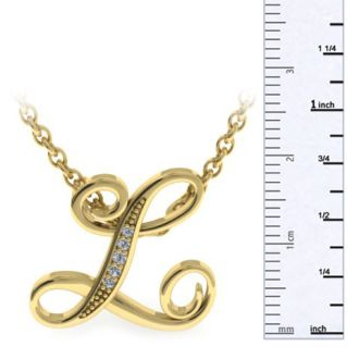 Diamond Initial Necklace, Letter L In Serif Style, Yellow Gold