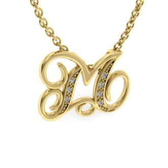 Letter M Diamond Initial Necklace In Yellow Gold With 6 Diamonds