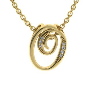 Diamond Initial Necklace, Letter O In Serif Style, Yellow Gold