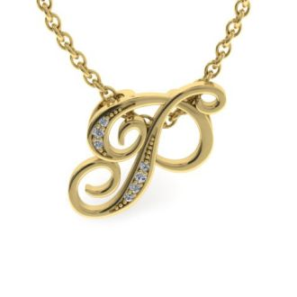 Diamond Initial Necklace, Letter P In Serif Style, Yellow Gold