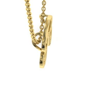Diamond Initial Necklace, Letter R In Serif Style, Yellow Gold