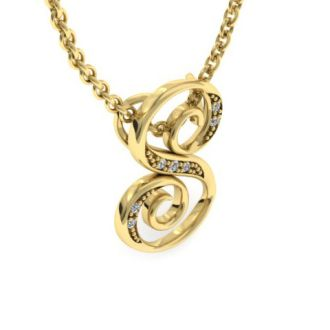 Diamond Initial Necklace, Letter S In Serif Style, Yellow Gold