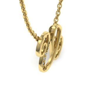 Diamond Initial Necklace, Letter U In Serif Style, Yellow Gold