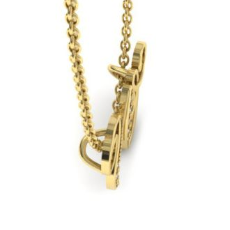 Diamond Initial Necklace, Letter W In Serif Style, Yellow Gold