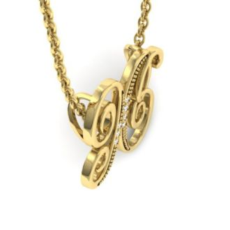Diamond Initial Necklace, Letter X In Serif Style, Yellow Gold