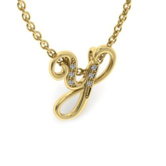 Diamond Initial Necklace, Letter Y In Serif Style, Yellow Gold