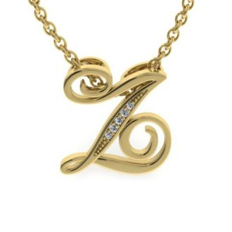 Diamond Initial Necklace, Letter Z In Serif Style, Yellow Gold