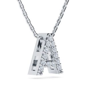 Diamond Initial Necklace, Letter A In Block Style, 14 Karat White Gold