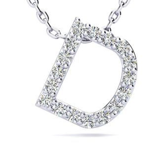 Diamond Initial Necklace, Letter D In Block Style, 14 Karat Rose Gold