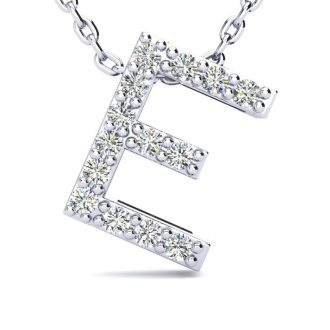 Letter E Diamond Initial Necklace In 14K White Gold With 13 Diamonds