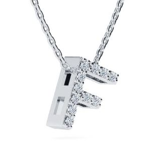 Diamond Initial Necklace, Letter F In Block Style, 14 Karat Rose Gold