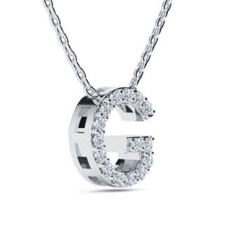 Diamond Initial Necklace, Letter G In Block Style, 14 Karat Rose Gold