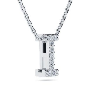 Diamond Initial Necklace, Letter I In Block Style, 14 Karat Rose Gold