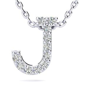 Letter J Diamond Initial Necklace In 14K White Gold With 13 Diamonds