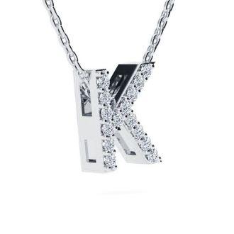 Diamond Initial Necklace, Letter K In Block Style, 14 Karat Rose Gold