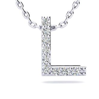 Letter L Diamond Initial Necklace In 14K White Gold With 13 Diamonds