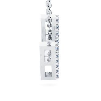 Letter M Diamond Initial Necklace In 14K White Gold With 13 Diamonds