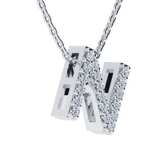 Letter N Diamond Initial Necklace In 14K White Gold With 13 Diamonds