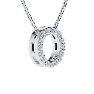 Letter O Diamond Initial Necklace In 14K White Gold With 13 Diamonds