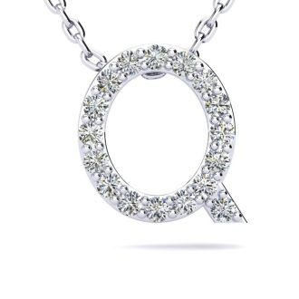 Diamond Initial Necklace, Letter Q In Block Style, 14 Karat Rose Gold