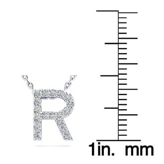 Letter R Diamond Initial Necklace In 14K White Gold With 13 Diamonds