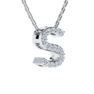 Diamond Initial Necklace, Letter S In Block Style, 14 Karat Rose Gold