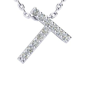 T Initial Necklace In White Gold With 11 Diamonds