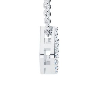 Letter U Diamond Initial Necklace In 14K White Gold With 13 Diamonds