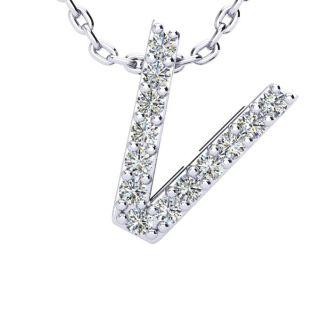 Diamond Initial Necklace, Letter V In Block Style, 14 Karat Rose Gold