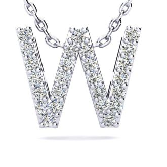 Letter W Diamond Initial Necklace In 14K White Gold With 13 Diamonds