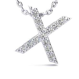 Letter X Diamond Initial Necklace In 14K White Gold With 13 Diamonds