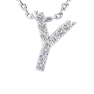 Diamond Initial Necklace, Letter Y In Block Style, 14 Karat Rose Gold