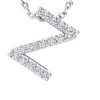 Diamond Initial Necklace, Letter Z In Block Style, 14 Karat Rose Gold