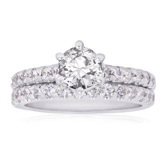 2.00 Carat Classic Prong Set Bridal Set In 14K White Gold