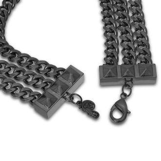 Triple Strand Gunmetal Necklace