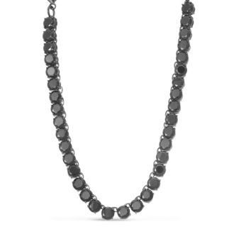 Fine Black Crystal Line Necklace, 16 Inches