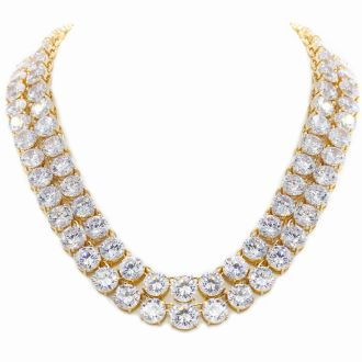 Fine Clear Crystal Line Double Strand Necklace, 16 & 18 Inches