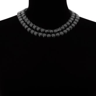 Fine Black Crystal Line Double Strand Necklace, 16 & 18 Inches