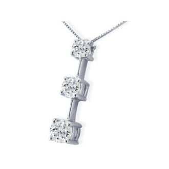 Impressive 2ct Fine Three Diamond Line Necklace in 14k White Gold