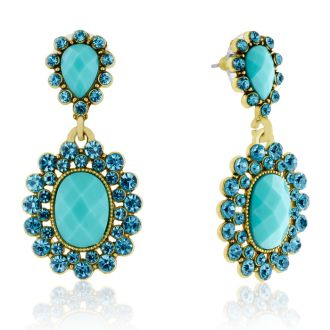 Passiana Summer Crystal Earrings, Turquoise
