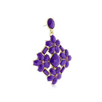 Passiana Statement Crystal Earrings, Purple