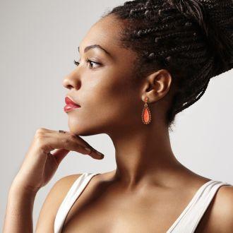 Drop Crystal Earrings, Orange
