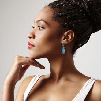 Passiana Drop Crystal Earrings,  Turquoise