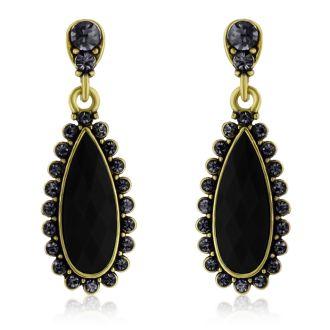Passiana Drop Crystal Earrings, Black