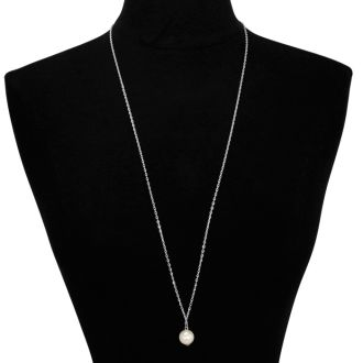 Simulated Pearl Solitaire Necklace, White