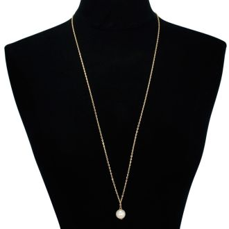 Simulated Pearl Solitaire Necklace, Yellow