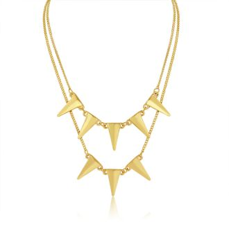 Double Strand Spike Necklace, Yellow Gold