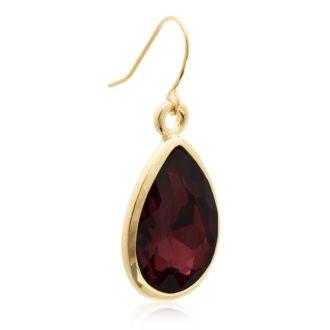 18 Carat Pear Shape Marsala Crystal Earrings, Gold Overlay