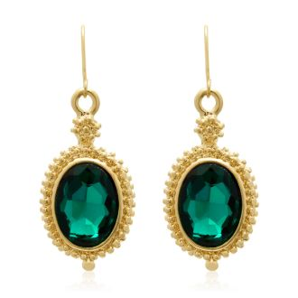 Regal 20 Carat Oval Shape Crystal Emerald Necklace With Free Matching Earrings.  Magnificent Huge, Beautiful Crystals!
